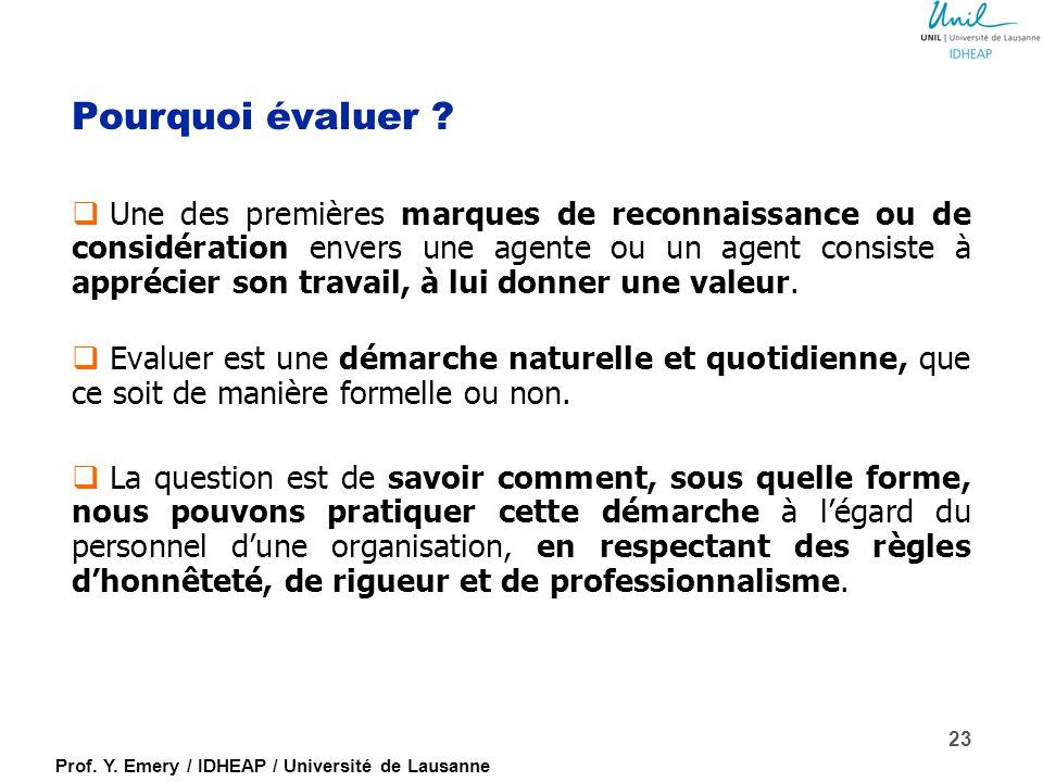 Prof. Y. Emery / IDHEAP / Université de Lausanne Craintes face à l'évaluation… Opinions Faits Jugements Reproches Comportements Valeurs = un mélange q