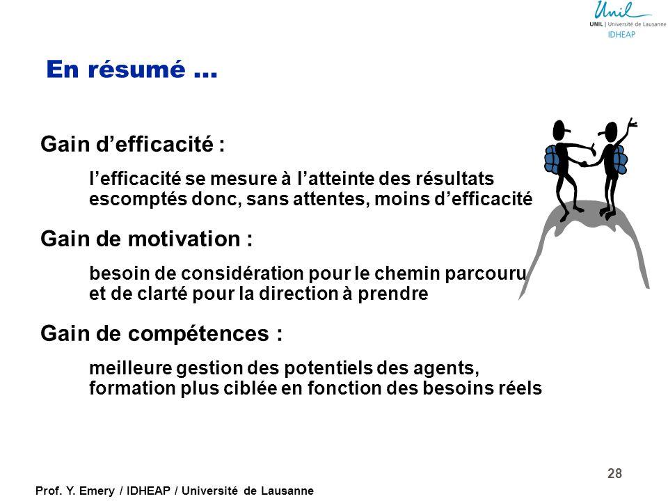 Prof. Y. Emery / IDHEAP / Université de Lausanne Quelles valeurs ajoutées, pour qui ? Pour l'organisation (l'Etat, ses services) Pour l'agente ou l'ag