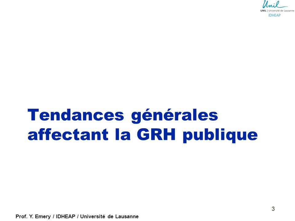 Prof. Y. Emery / IDHEAP / Université de Lausanne 2 Programme de la conférence : six thèmes essentiels  Tendances générales affectant la GRH publique