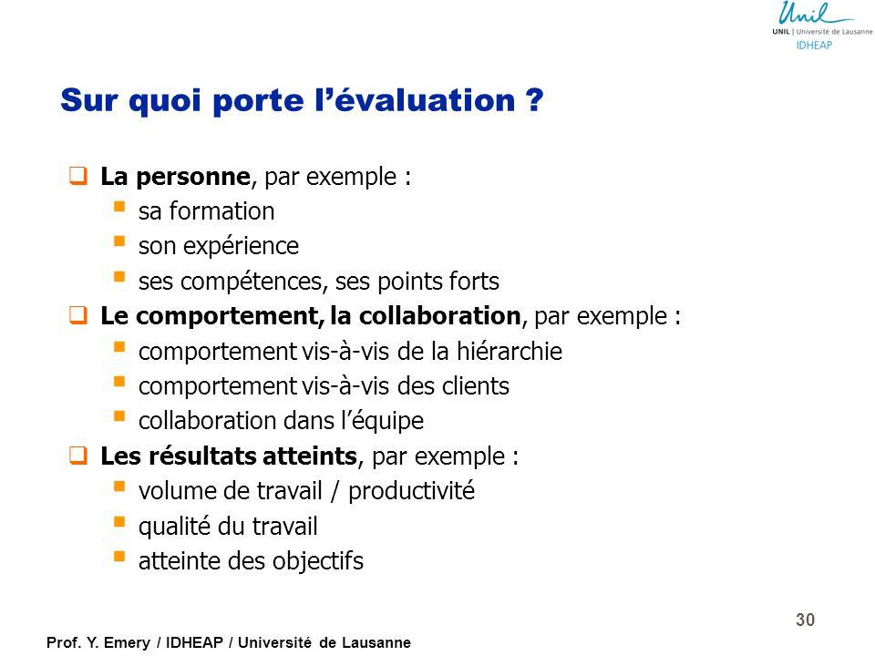 Prof. Y. Emery / IDHEAP / Université de Lausanne 29 Valeurs ajoutées spécifiques de l'évaluation Évaluer les prestations PASSE FUTUR CLARIFIER LA MISS