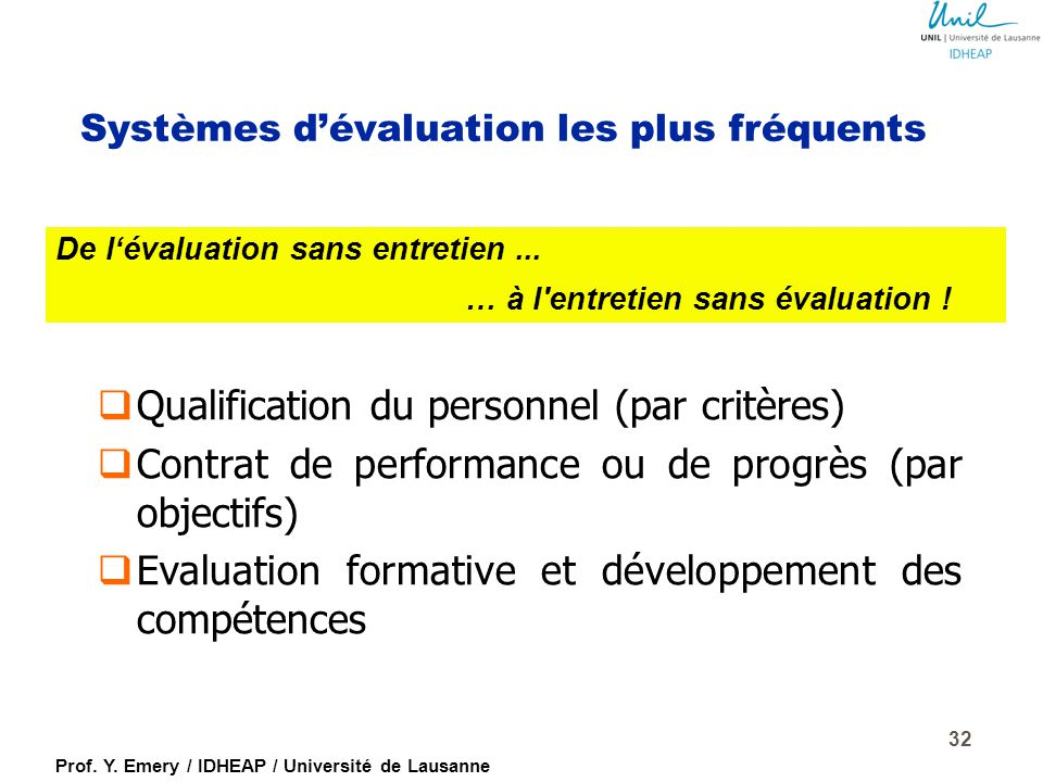 Prof. Y. Emery / IDHEAP / Université de Lausanne 31 Les trois rythmes de l 'évaluation (Emery/Gonin, 2009)