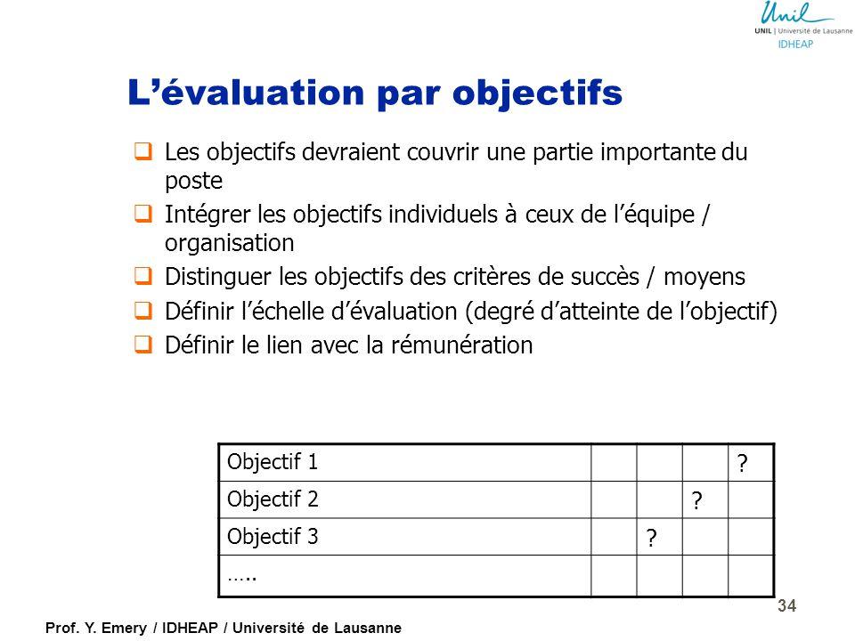 Prof. Y. Emery / IDHEAP / Université de Lausanne 33 L'évaluation par critères  Choix des critères généraux  Critères spécifiques pour les cadres, ou