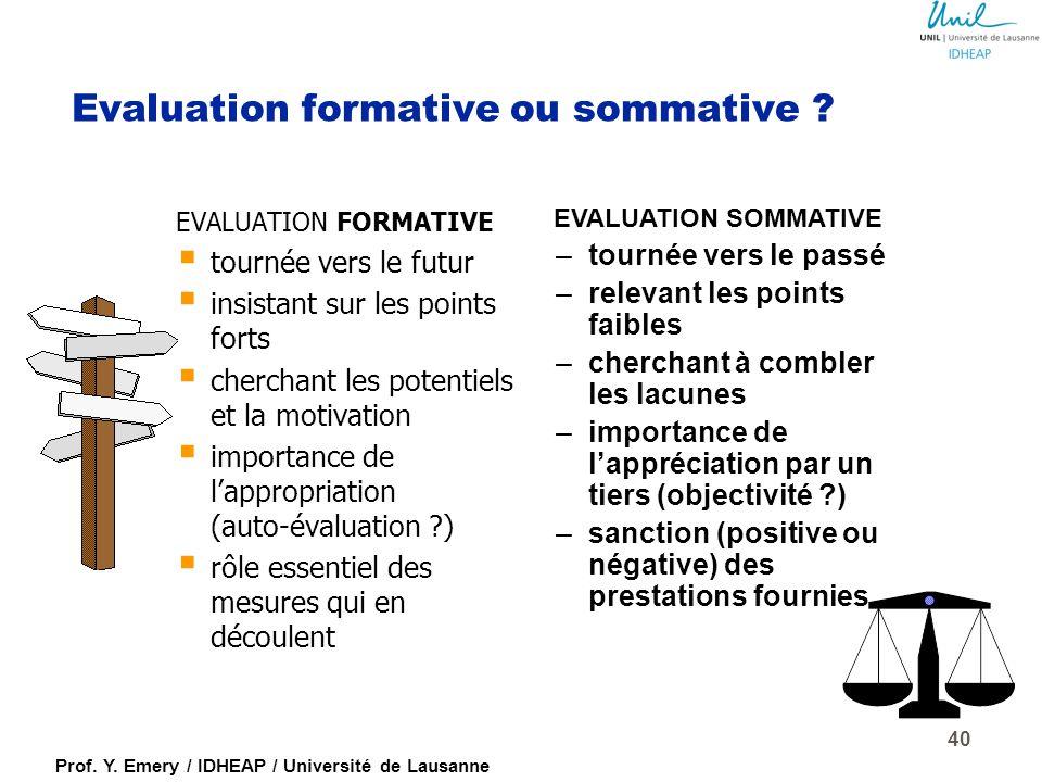 Prof. Y. Emery / IDHEAP / Université de Lausanne Le critère global d'évaluation  Agrégation d'évaluations concernant la personne, le comportement et