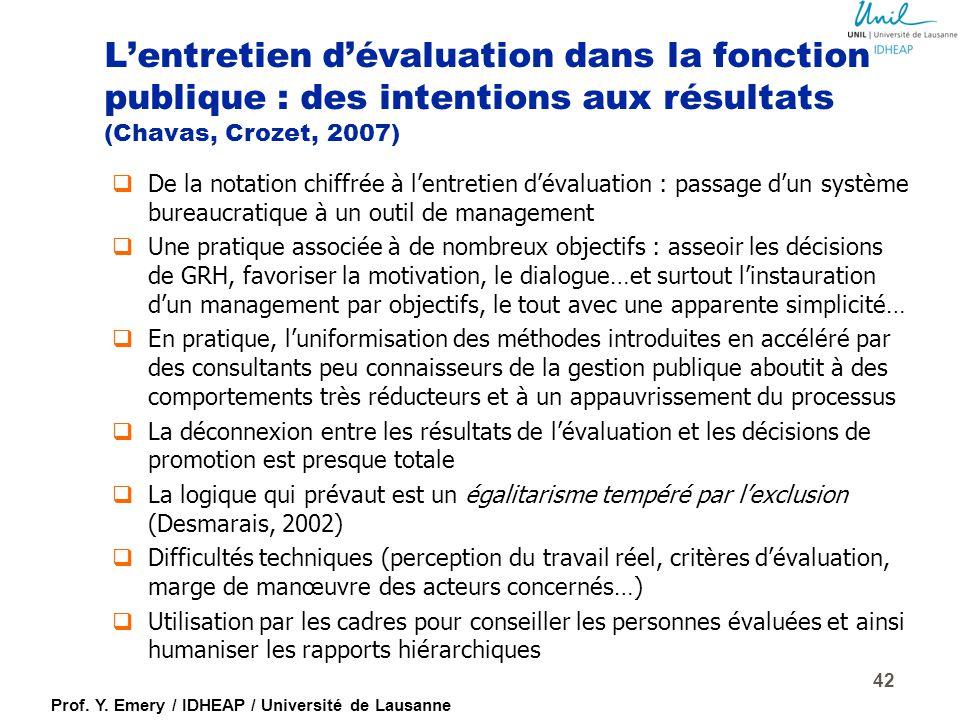 Prof. Y. Emery / IDHEAP / Université de Lausanne L'entretien d'évaluation 41