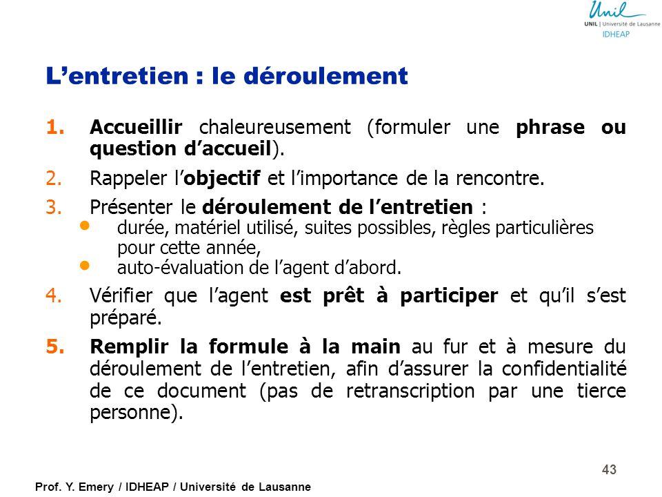Prof. Y. Emery / IDHEAP / Université de Lausanne L'entretien d'évaluation dans la fonction publique : des intentions aux résultats (Chavas, Crozet, 20