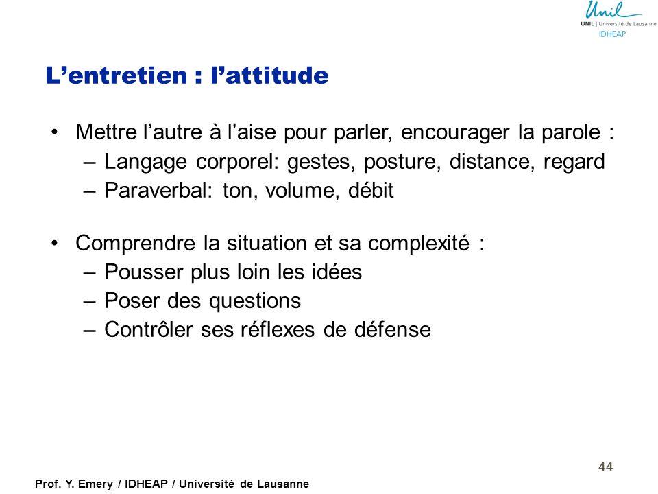 Prof. Y. Emery / IDHEAP / Université de Lausanne 1.Accueillir chaleureusement (formuler une phrase ou question d'accueil). 2.Rappeler l'objectif et l'