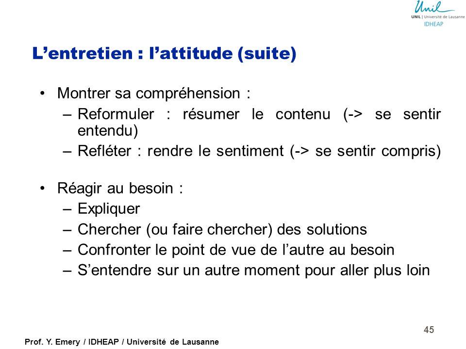 Prof. Y. Emery / IDHEAP / Université de Lausanne L'entretien : l'attitude Mettre l'autre à l'aise pour parler, encourager la parole : –Langage corpore