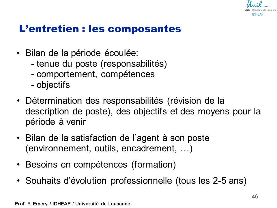 Prof. Y. Emery / IDHEAP / Université de Lausanne L'entretien : l'attitude (suite) Montrer sa compréhension : –Reformuler : résumer le contenu (-> se s