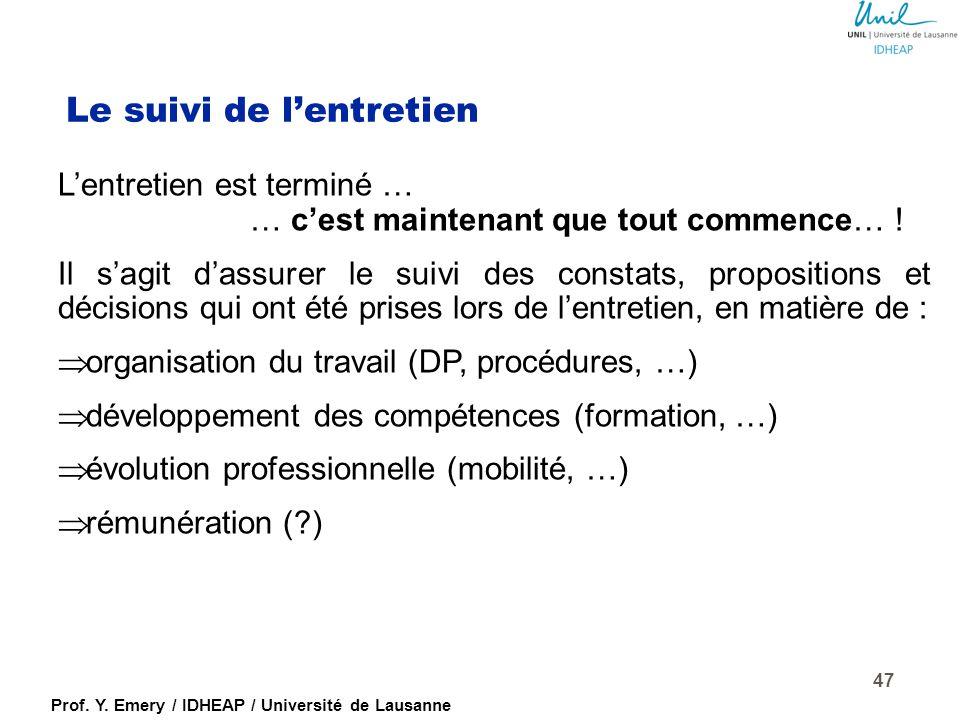Prof. Y. Emery / IDHEAP / Université de Lausanne L'entretien : les composantes Bilan de la période écoulée: - tenue du poste (responsabilités) - compo