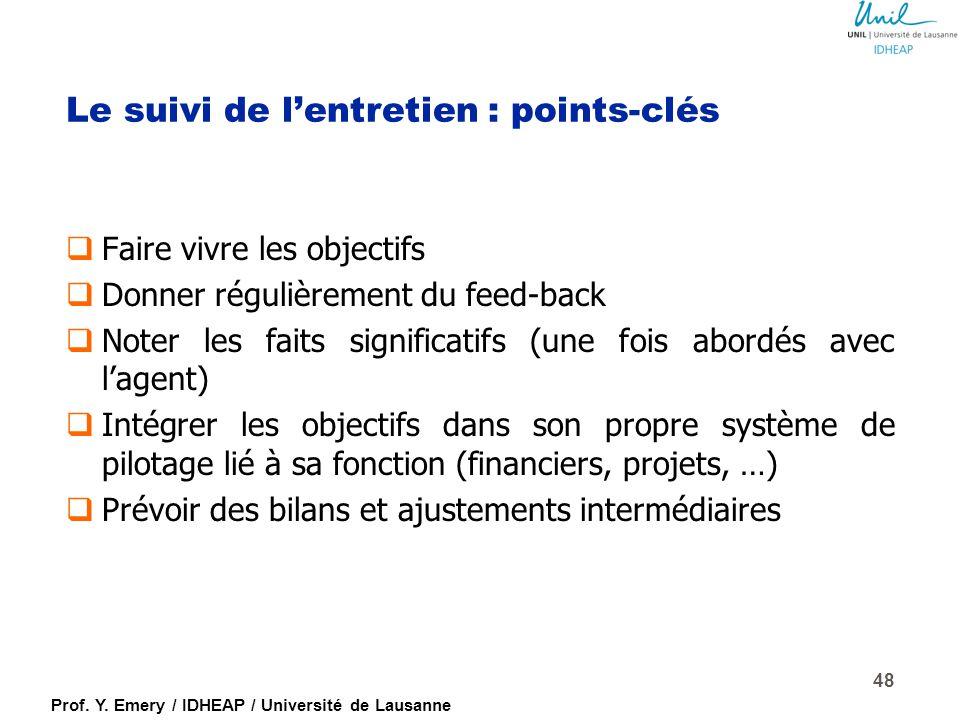 Prof. Y. Emery / IDHEAP / Université de Lausanne L'entretien est terminé … … c'est maintenant que tout commence… ! Il s'agit d'assurer le suivi des co