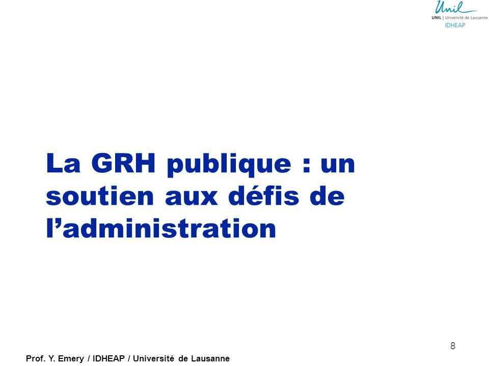 Prof. Y. Emery / IDHEAP / Université de Lausanne Classement du niveau bureaucratique des pays de l'EU (Demmke & Moilanen, 2010) 0= bureaucratique 100=