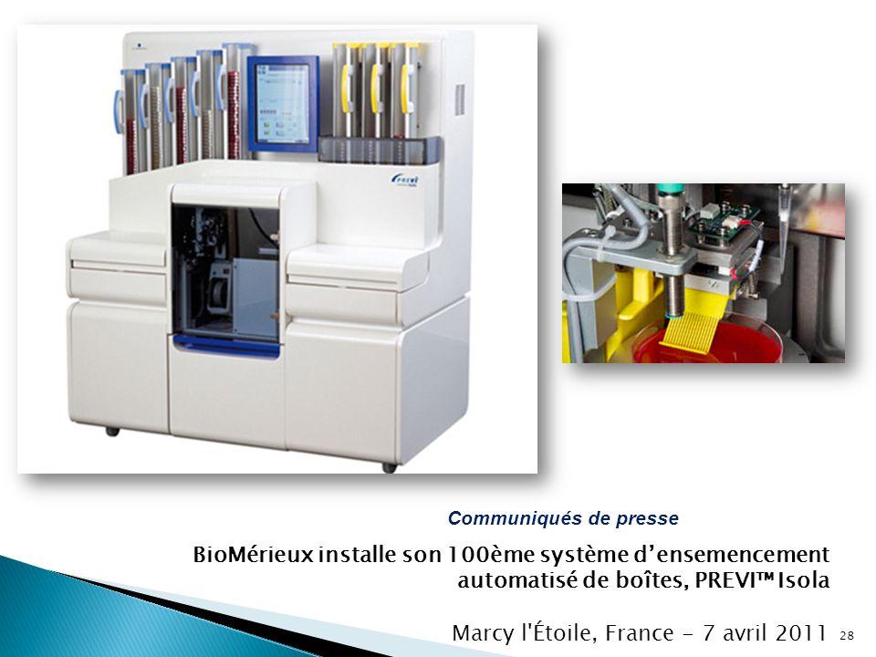 BioMérieux installe son 100ème système d'ensemencement automatisé de boîtes, PREVI™ Isola Marcy l'Étoile, France - 7 avril 2011 Communiqués de presse