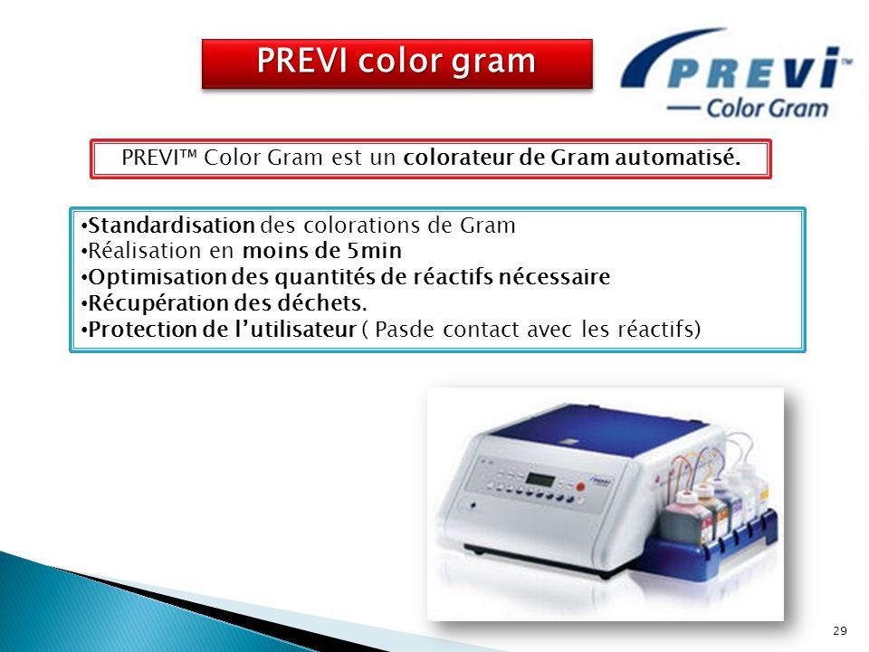 PREVI color gram Standardisation des colorations de Gram Réalisation en moins de 5min Optimisation des quantités de réactifs nécessaire Récupération d