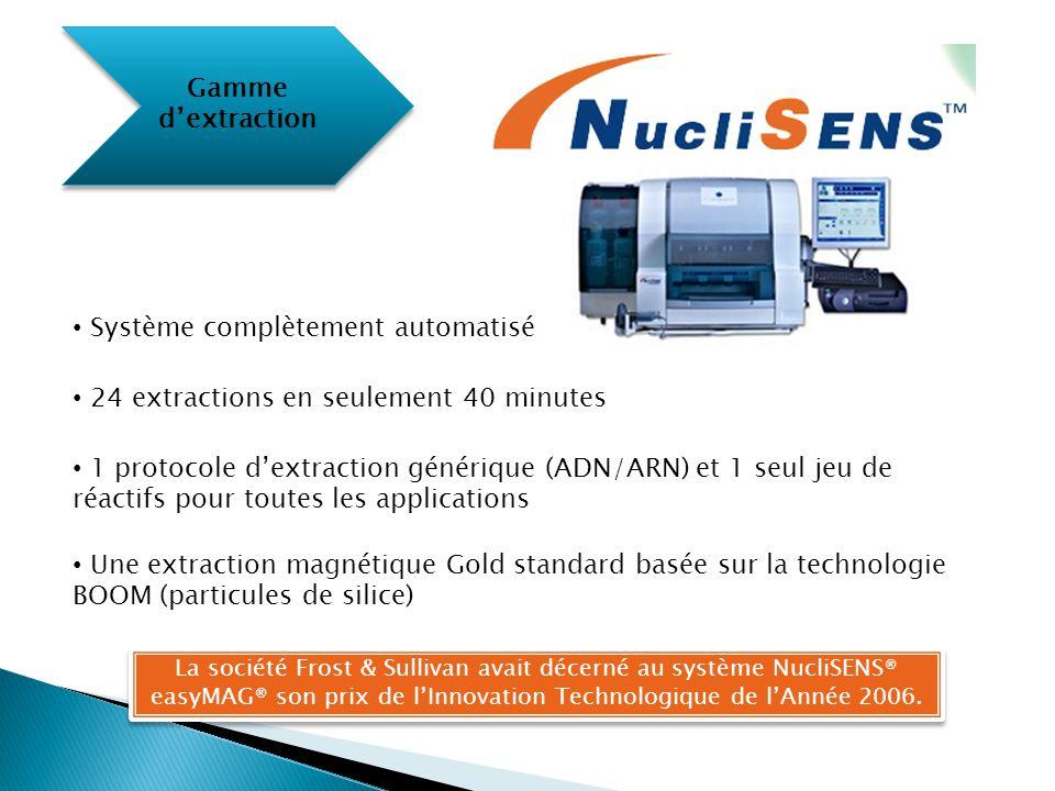 Gamme d'extraction Système complètement automatisé 24 extractions en seulement 40 minutes 1 protocole d'extraction générique (ADN/ARN) et 1 seul jeu d
