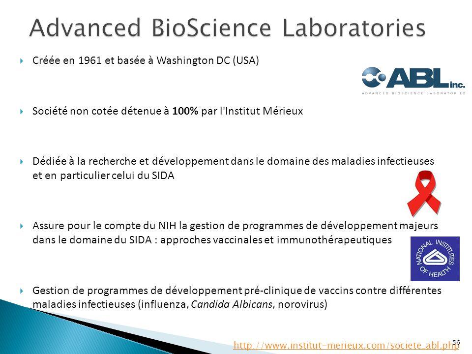  Créée en 1961 et basée à Washington DC (USA)  Société non cotée détenue à 100% par l'Institut Mérieux  Dédiée à la recherche et développement dans