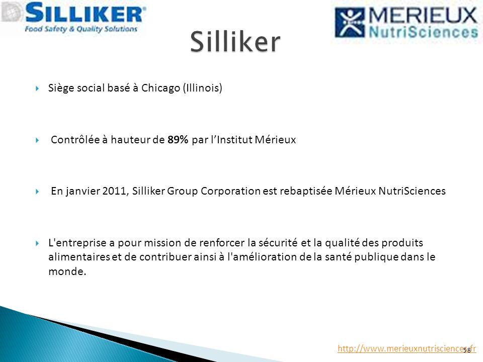  Siège social basé à Chicago (Illinois)  Contrôlée à hauteur de 89% par l'Institut Mérieux  En janvier 2011, Silliker Group Corporation est rebapti