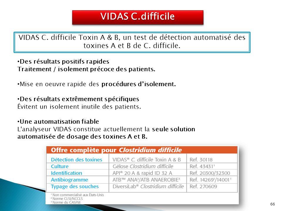 VIDAS C.difficile VIDAS C. difficile Toxin A & B, un test de détection automatisé des toxines A et B de C. difficile. Des résultats positifs rapides T