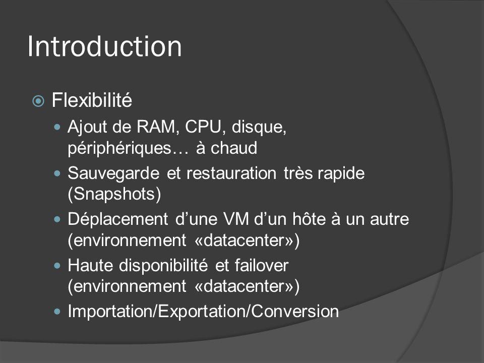 Introduction  Flexibilité Ajout de RAM, CPU, disque, périphériques… à chaud Sauvegarde et restauration très rapide (Snapshots) Déplacement d'une VM d