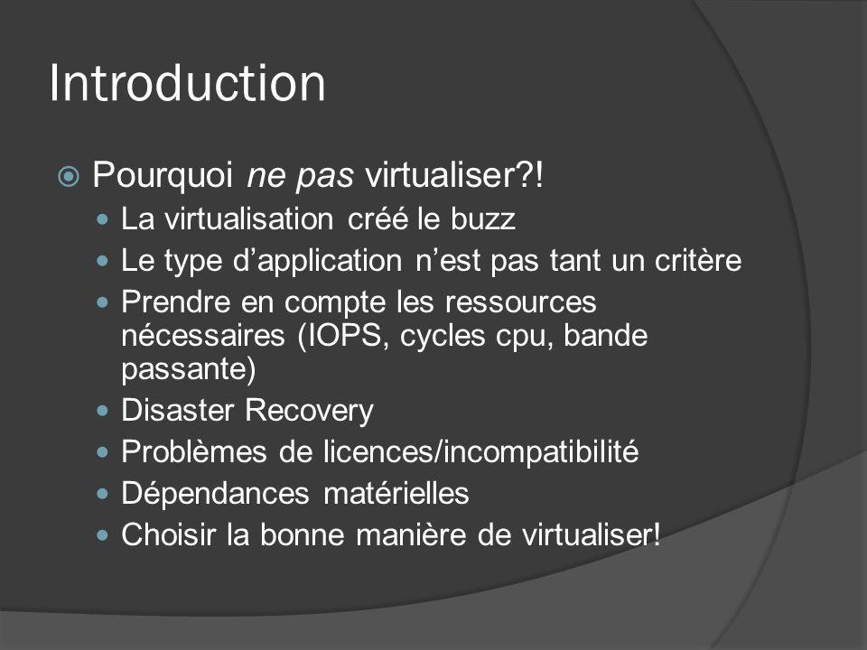 Introduction  Pourquoi ne pas virtualiser?! La virtualisation créé le buzz Le type d'application n'est pas tant un critère Prendre en compte les ress