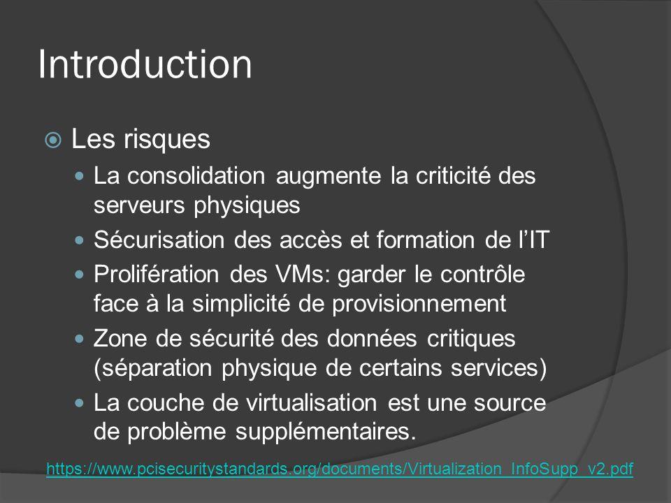 Introduction  Les risques La consolidation augmente la criticité des serveurs physiques Sécurisation des accès et formation de l'IT Prolifération des