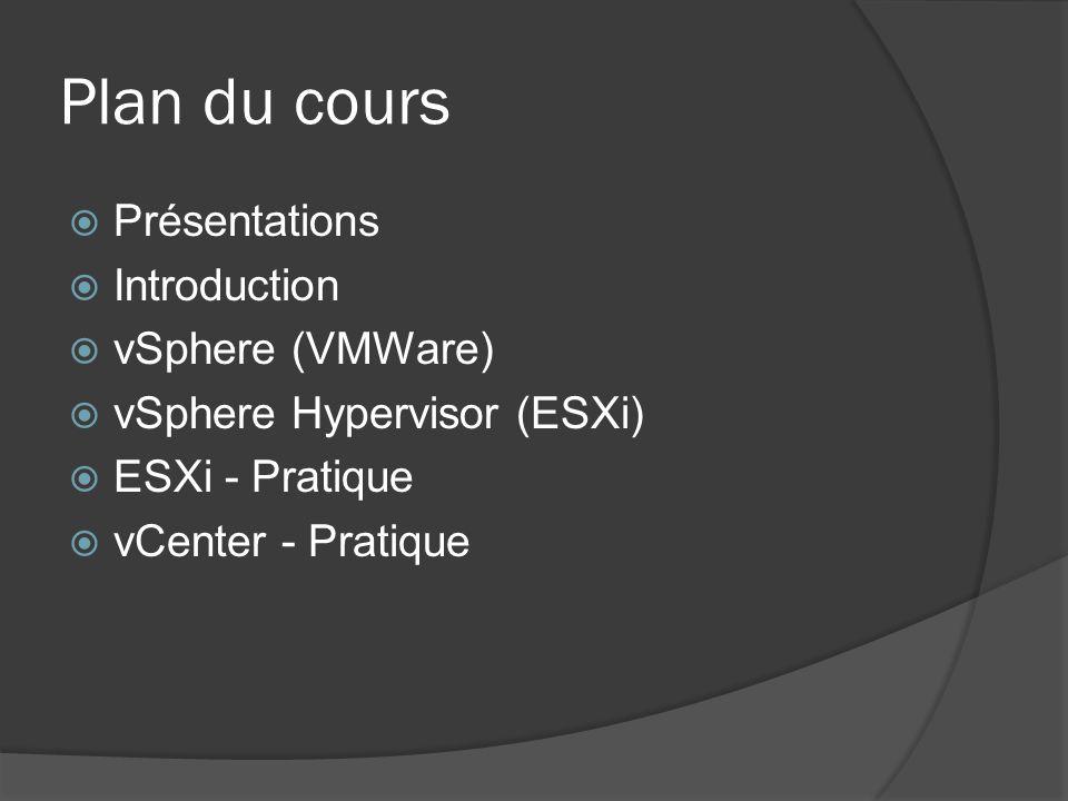 Plan du cours  Présentations  Introduction  vSphere (VMWare)  vSphere Hypervisor (ESXi)  ESXi - Pratique  vCenter - Pratique