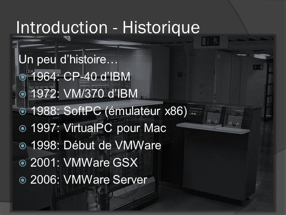 Introduction - Historique Un peu d'histoire…  1964: CP-40 d'IBM  1972: VM/370 d'IBM  1988: SoftPC (émulateur x86)  1997: VirtualPC pour Mac  1998