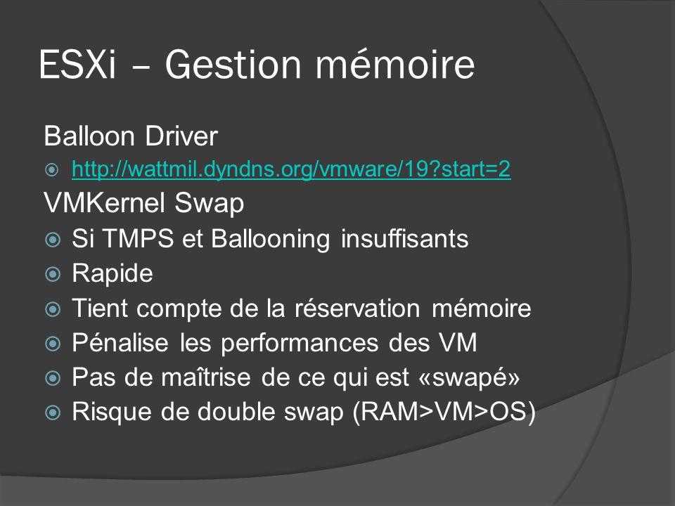 ESXi – Gestion mémoire Balloon Driver  http://wattmil.dyndns.org/vmware/19?start=2 http://wattmil.dyndns.org/vmware/19?start=2 VMKernel Swap  Si TMP
