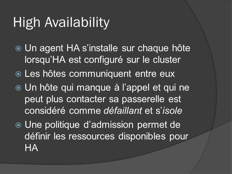 High Availability  Un agent HA s'installe sur chaque hôte lorsqu'HA est configuré sur le cluster  Les hôtes communiquent entre eux  Un hôte qui man