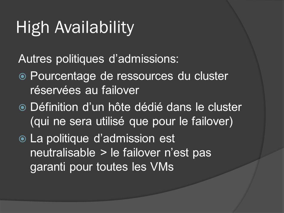 High Availability Autres politiques d'admissions:  Pourcentage de ressources du cluster réservées au failover  Définition d'un hôte dédié dans le cl