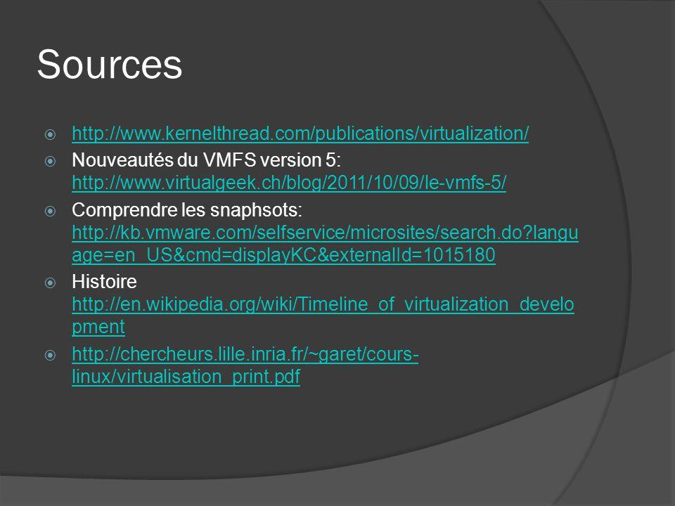Sources  http://www.kernelthread.com/publications/virtualization/ http://www.kernelthread.com/publications/virtualization/  Nouveautés du VMFS versi