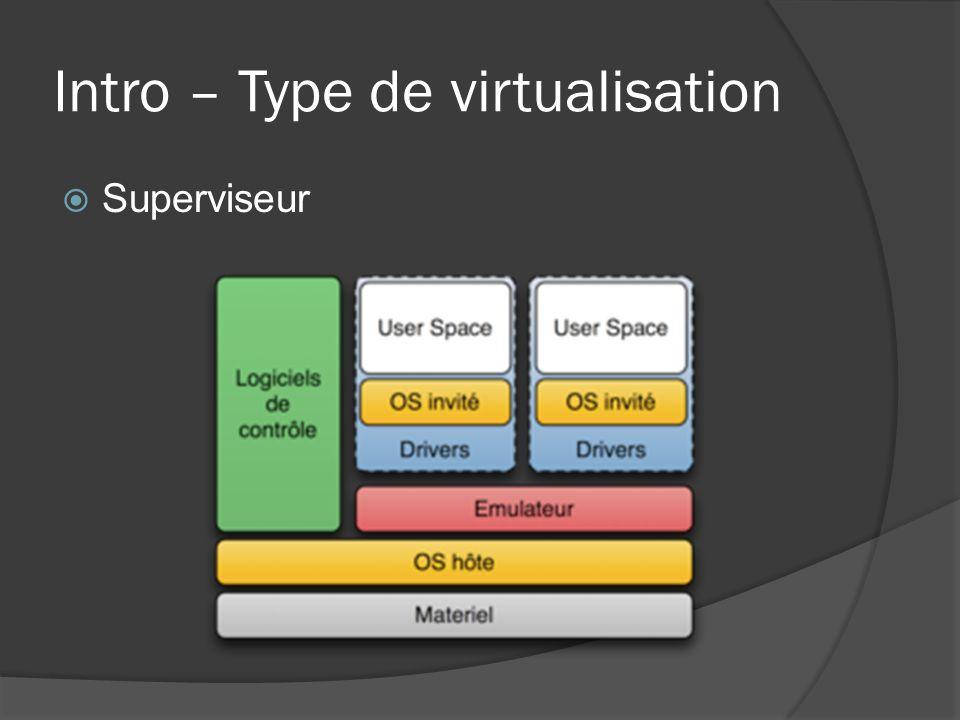 Intro – Type de virtualisation  Superviseur