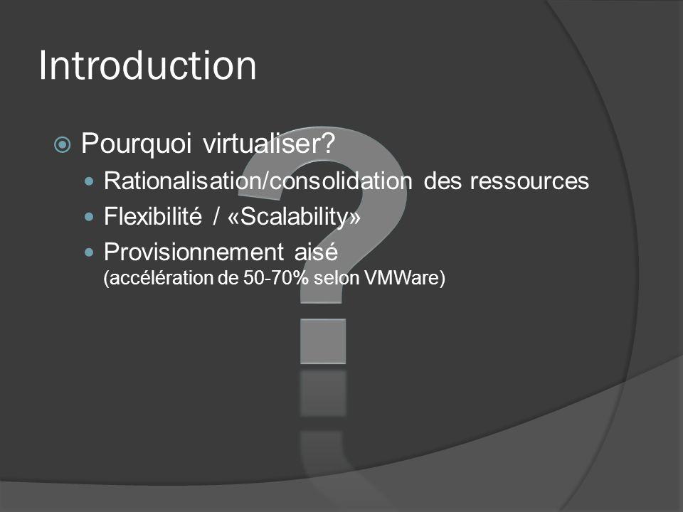 Introduction  Pourquoi virtualiser? Rationalisation/consolidation des ressources Flexibilité / «Scalability» Provisionnement aisé (accélération de 50