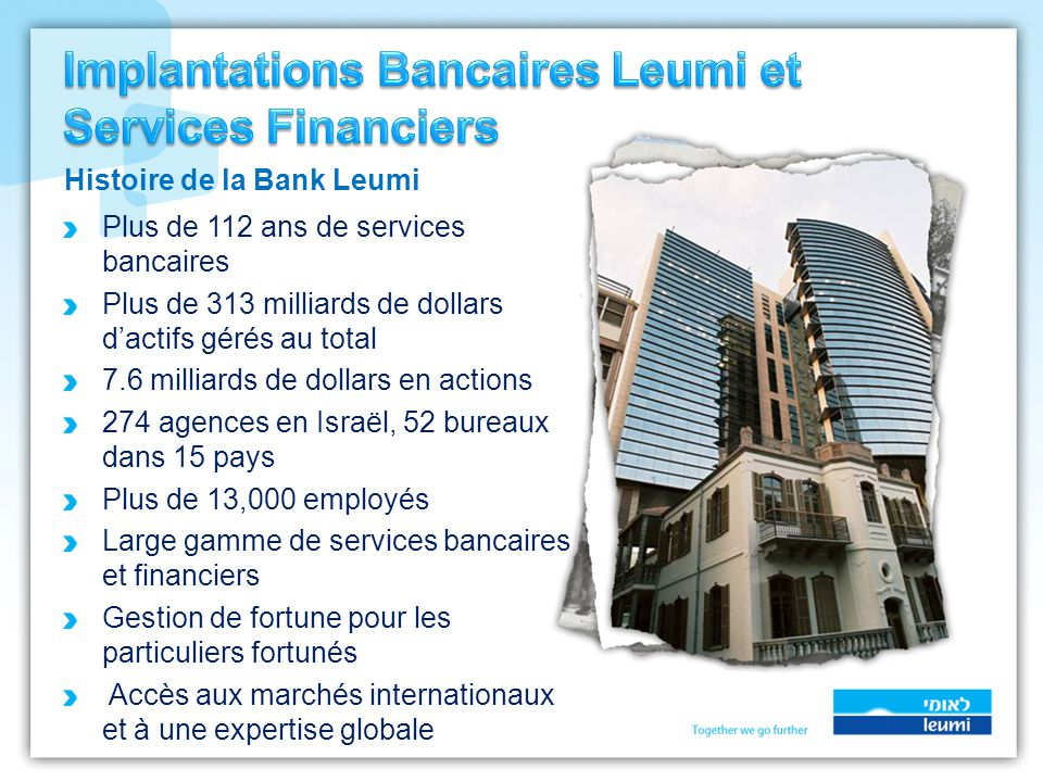 Plus de 112 ans de services bancaires Plus de 313 milliards de dollars d'actifs gérés au total 7.6 milliards de dollars en actions 274 agences en Isra