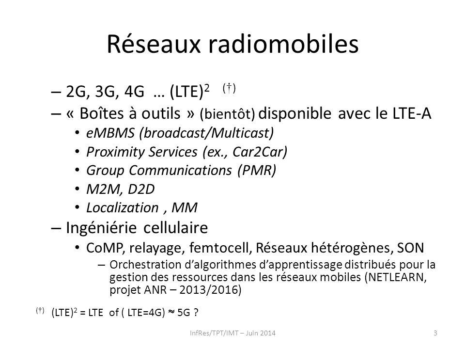 Réseaux radiomobiles – 2G, 3G, 4G … (LTE) 2 ( † ) – « Boîtes à outils » (bientôt) disponible avec le LTE-A eMBMS (broadcast/Multicast) Proximity Servi
