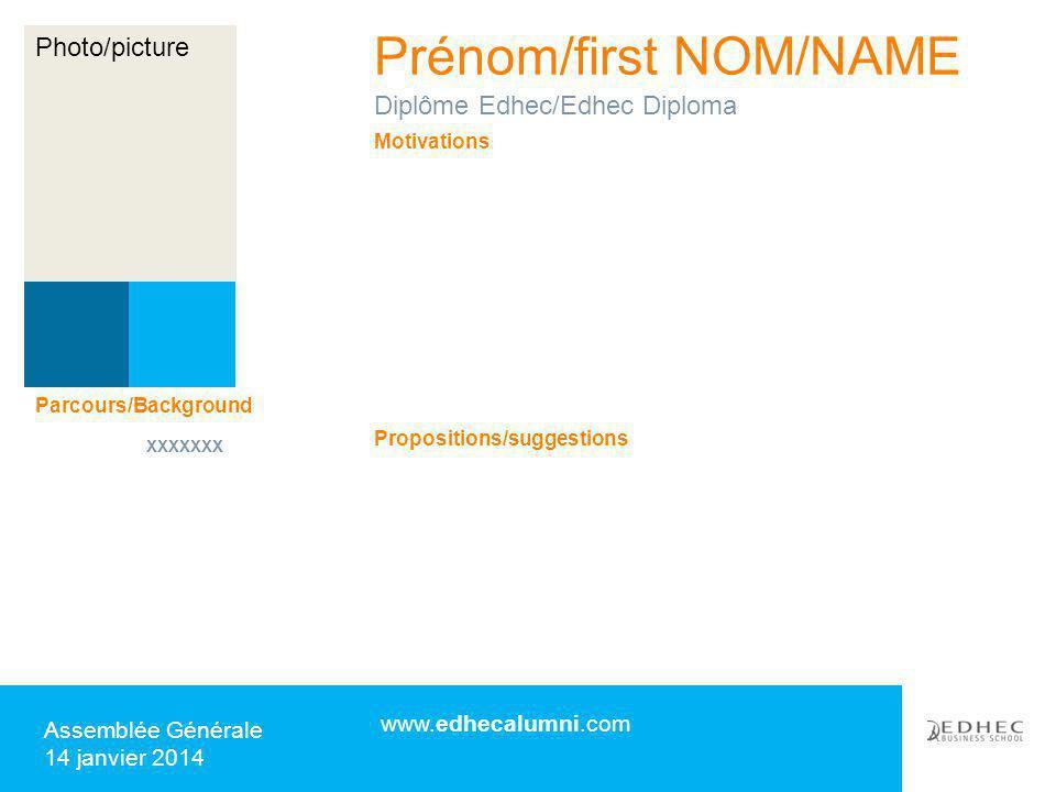 Prénom/first NOM/NAME www.edhecalumni.com Assemblée Générale 14 janvier 2014 Motivations Propositions/suggestions Diplôme Edhec/Edhec Diploma Parcours