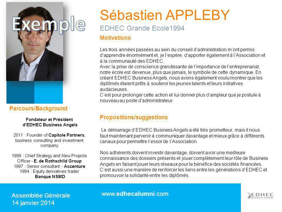 Sébastien APPLEBY www.edhecalumni.com Assemblée Générale 14 janvier 2014 Motivations Les trois années passées au sein du conseil d'administration m'on