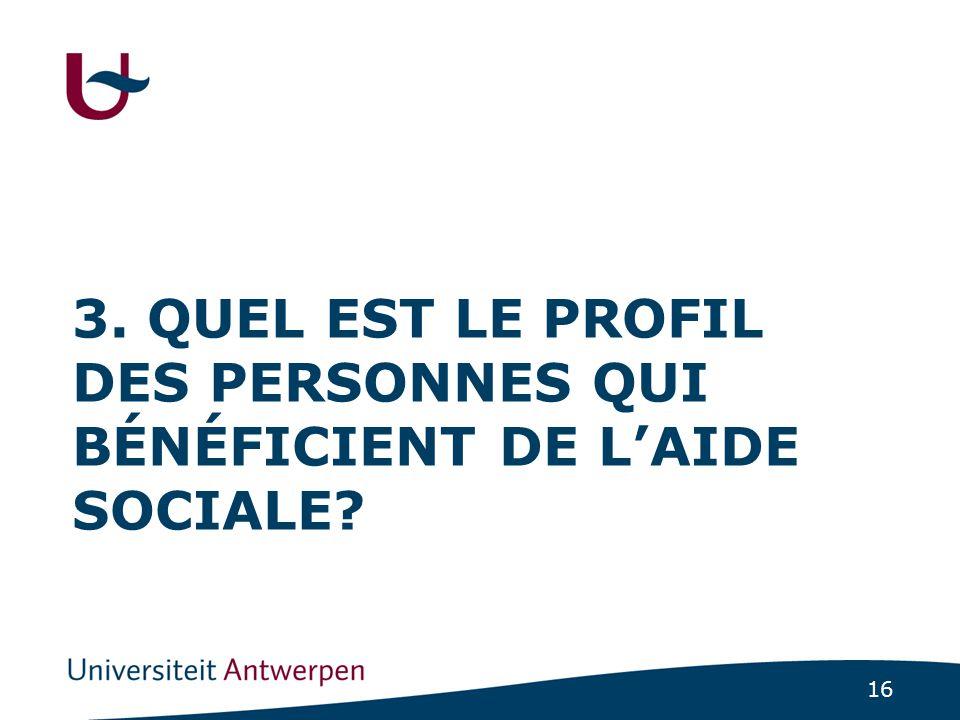 16 3. QUEL EST LE PROFIL DES PERSONNES QUI BÉNÉFICIENT DE L'AIDE SOCIALE