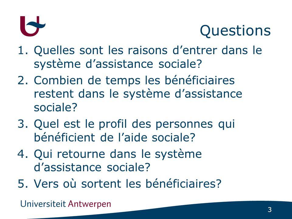 3 Questions 1.Quelles sont les raisons d'entrer dans le système d'assistance sociale.