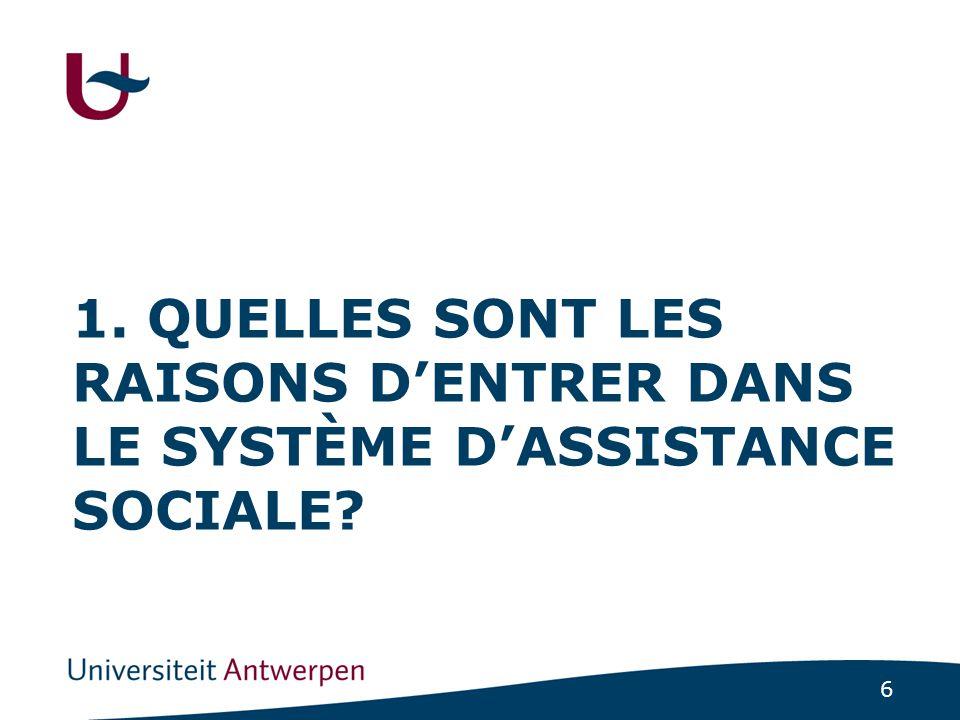 6 1. QUELLES SONT LES RAISONS D'ENTRER DANS LE SYSTÈME D'ASSISTANCE SOCIALE