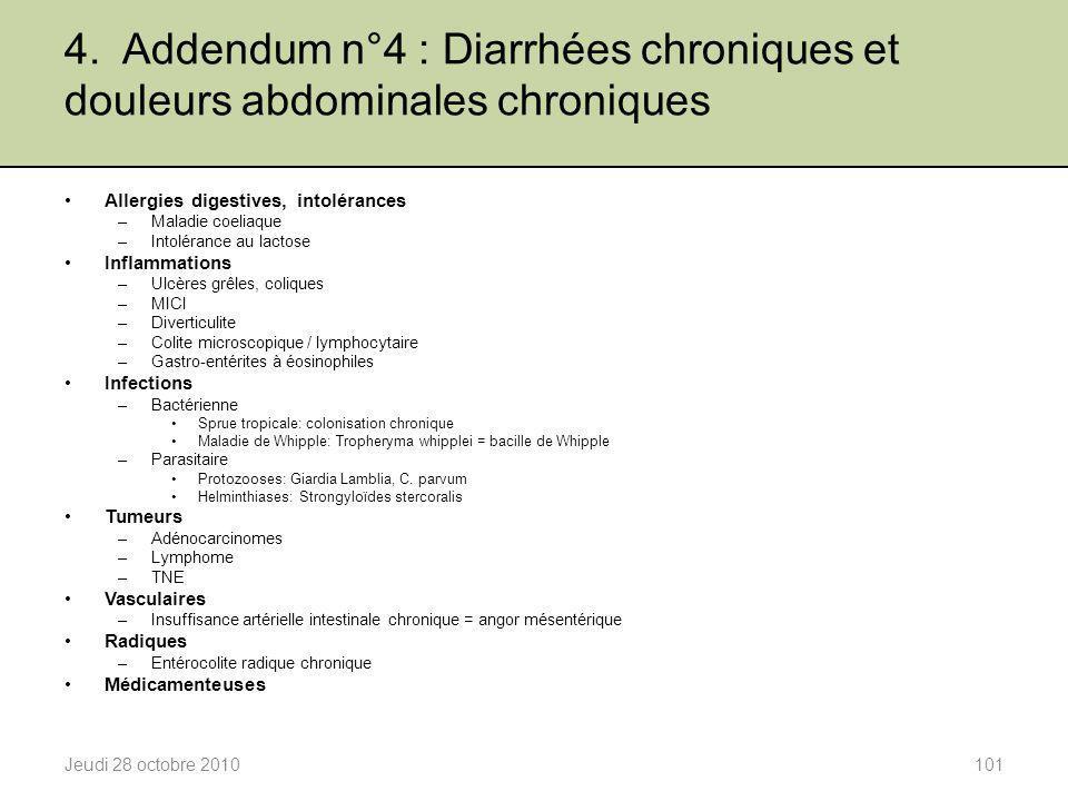 4. Addendum n°4 : Diarrhées chroniques et douleurs abdominales chroniques Jeudi 28 octobre 2010101 Allergies digestives, intolérances –Maladie coeliaq