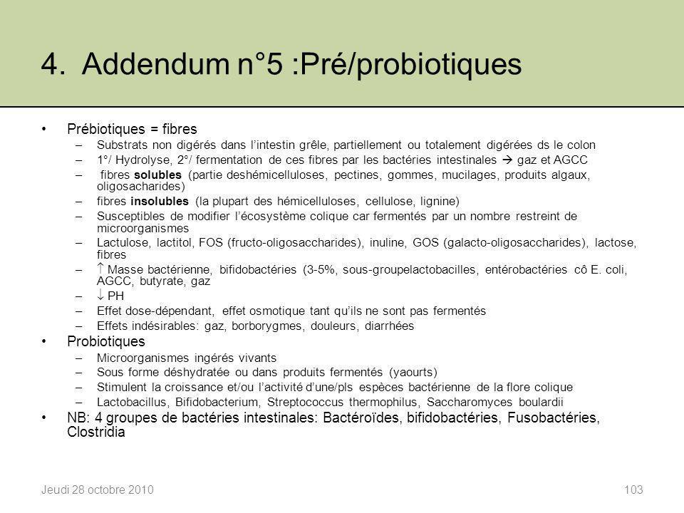 4. Addendum n°5 :Pré/probiotiques Jeudi 28 octobre 2010103 Prébiotiques = fibres –Substrats non digérés dans l'intestin grêle, partiellement ou totale
