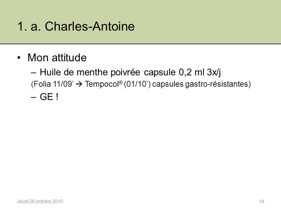1. a. Charles-Antoine Mon attitude –Huile de menthe poivrée capsule 0,2 ml 3x/j (Folia 11/09'  Tempocol ® (01/10') capsules gastro-résistantes) –GE !