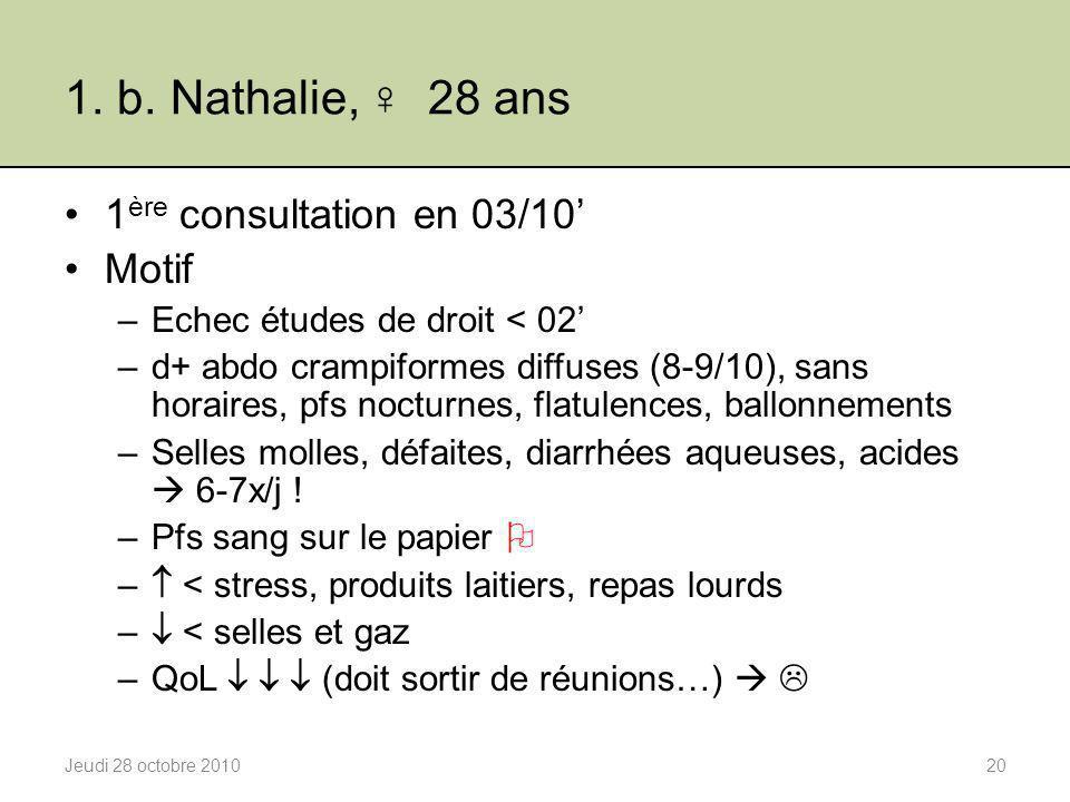 1. b. Nathalie, ♀ 28 ans 1 ère consultation en 03/10' Motif –Echec études de droit < 02' –d+ abdo crampiformes diffuses (8-9/10), sans horaires, pfs n