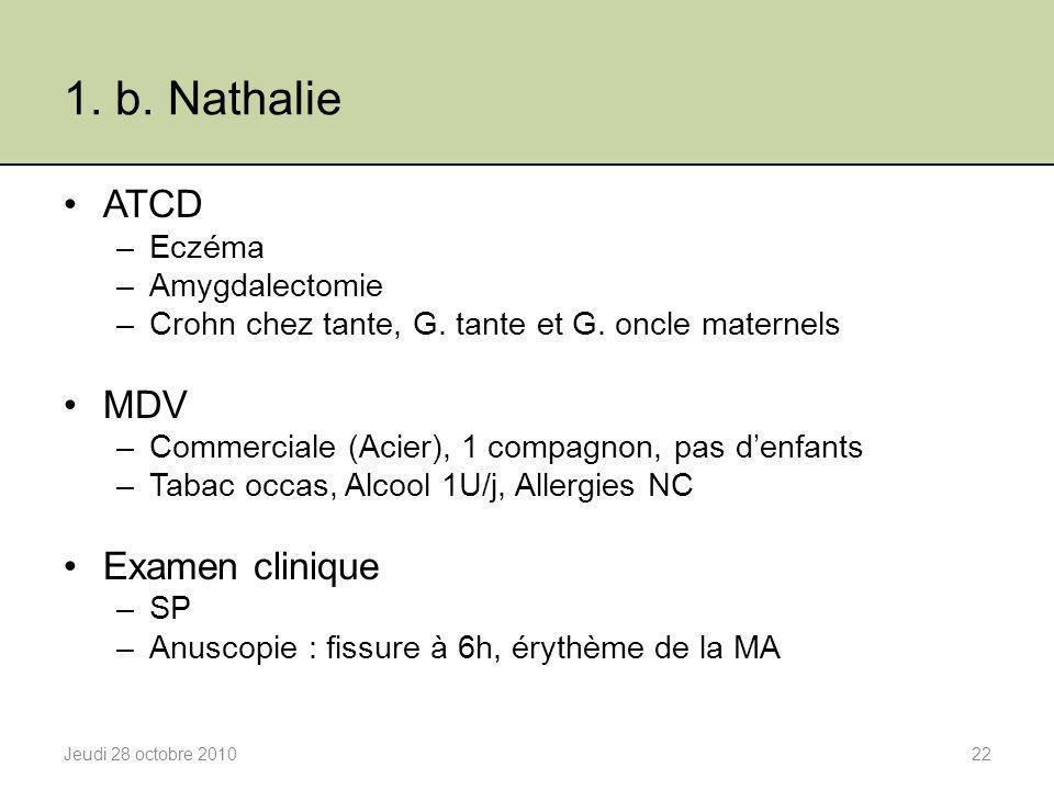 1. b. Nathalie ATCD –Eczéma –Amygdalectomie –Crohn chez tante, G. tante et G. oncle maternels MDV –Commerciale (Acier), 1 compagnon, pas d'enfants –Ta