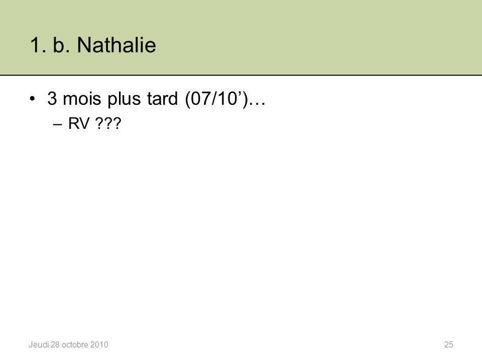 1. b. Nathalie 3 mois plus tard (07/10')… –RV ??? Jeudi 28 octobre 201025