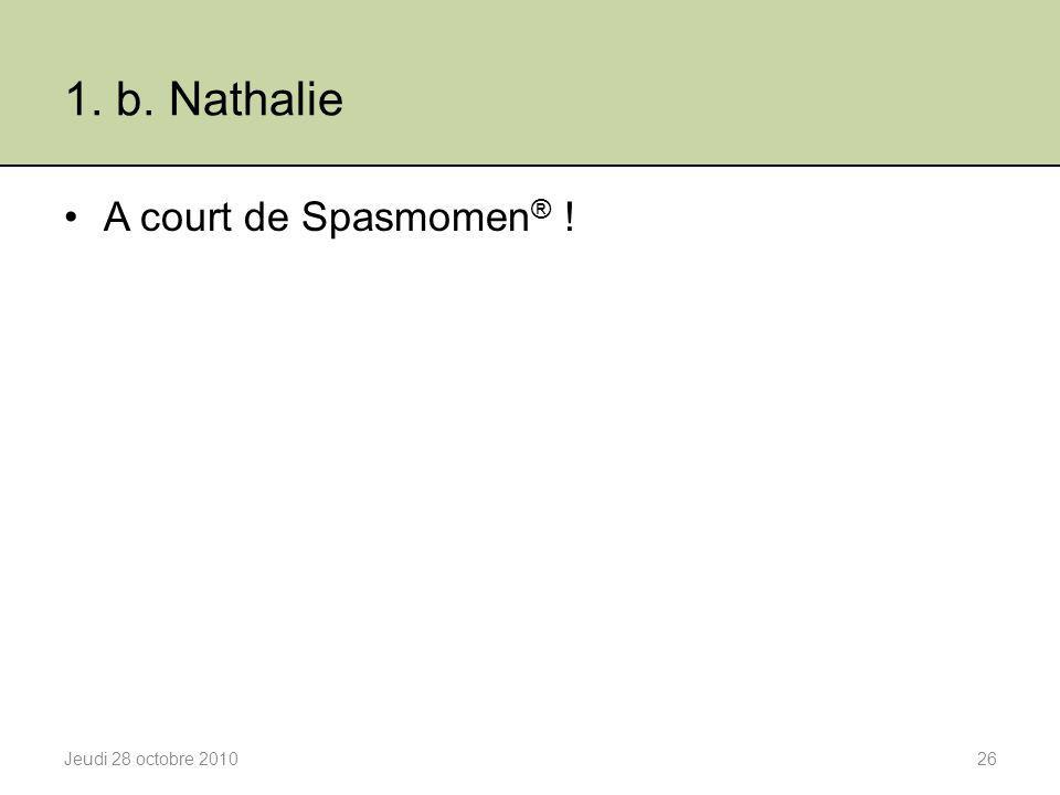1. b. Nathalie A court de Spasmomen ® ! Jeudi 28 octobre 201026