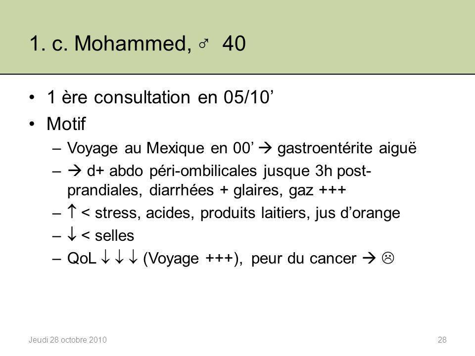 1. c. Mohammed, ♂ 40 1 ère consultation en 05/10' Motif –Voyage au Mexique en 00'  gastroentérite aiguë –  d+ abdo péri-ombilicales jusque 3h post-