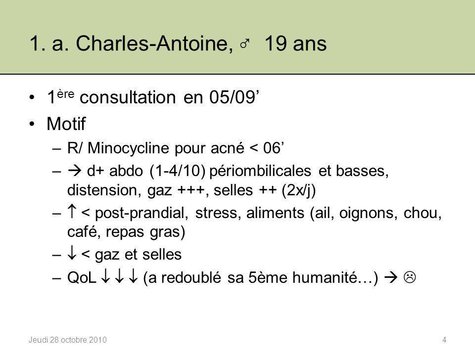 1. a. Charles-Antoine, ♂ 19 ans 1 ère consultation en 05/09' Motif –R/ Minocycline pour acné < 06' –  d+ abdo (1-4/10) périombilicales et basses, dis