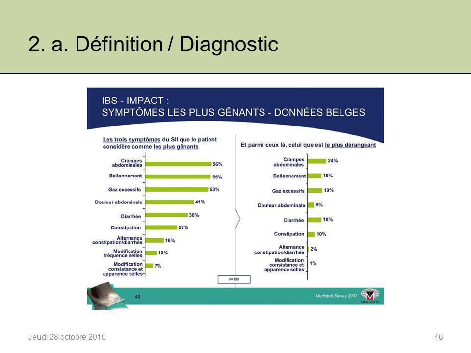2. a. Définition / Diagnostic Jeudi 28 octobre 201046