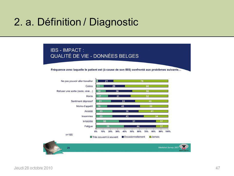 2. a. Définition / Diagnostic Jeudi 28 octobre 201047
